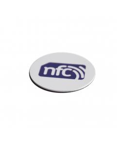 ANTI-METAL 35mm White HARD PVC NFC Disc Tag - NXP NTAG213 3M Glue