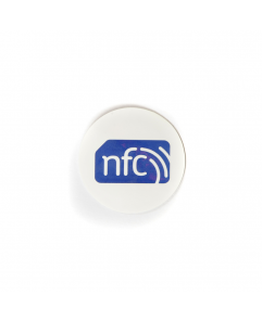 30mm White PVC NFC Sticker - NXP NTAG216  with blue NFC enabled logo