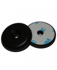 ANTI-METAL 34mm Black PA6 NFC Disc Token with hole - NTAG213 + 3M Glue