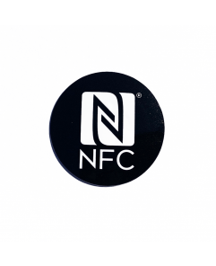 30mm NFC Sticker Black with white NFC Forum Registered logo - NXP NTAG213