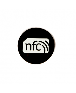 30mm Black PVC NFC Sticker - NXP NTAG216 with white NFC enabled logo