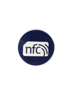 30mm Blue PVC NFC Sticker NTAG216  with white NFC enabled logo