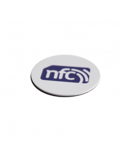 ANTI-METAL 35mm White HARD PVC NFC Disc Tag - NXP NTAG213 3M Glue