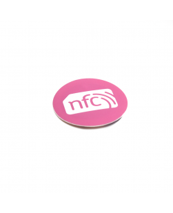 Pink 30mm NFC Sticker NXP NTAG213