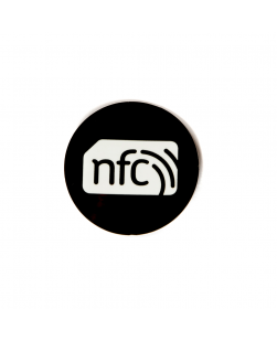 30mm Black PVC NFC Sticker - NXP NTAG216 with white NFC enabled logo