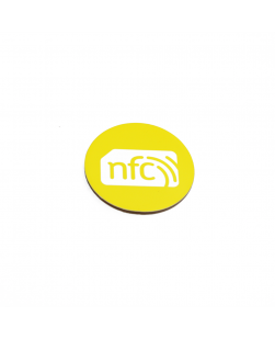 30mm NFC Sticker YELLOW PVC and white logo - NXP NTAG213