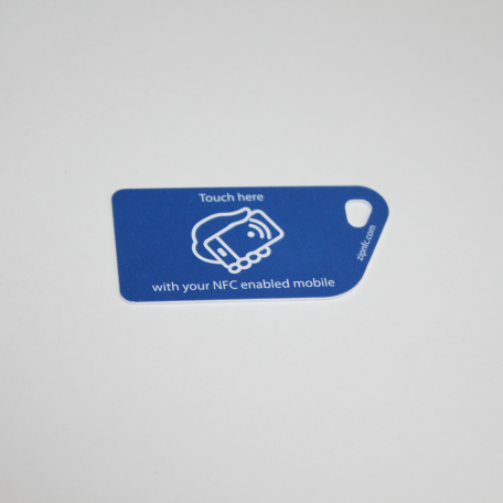 NFC Tag Key Card NTAG213 Blue with touch here logo