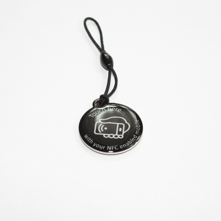 NFC Hang Tag NTAG213 [black with white call to action]