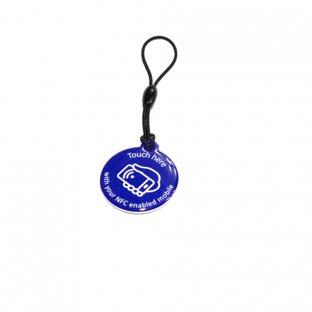 NFC Hang Tag NTAG213 [blue with white call to action]