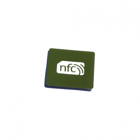 38mmx38mm Square NFC Sticker Green PVC and white logo - NTAG213