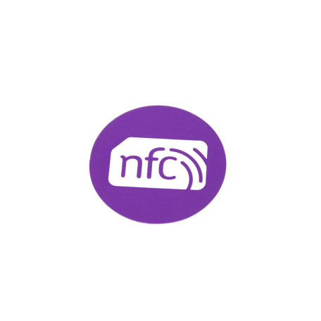30mm NFC Sticker VIOLET PVC and white logo - NTAG213